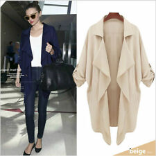 2015 Women Spring Summer Long Trench Coat Outerwear Casual Overcoat Blazer