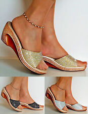NEW PARTY DIAMANTE SILVER GOLD BLACK LOW WEDGE HEEL WIDE FEET SHOES SANDALS SIZE