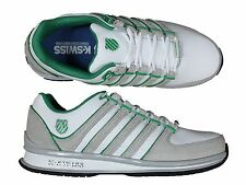 MENS TRAINERS K.SWISS RINZLER SP WHITE/GULL GRAY LACE UP LEATHER TRAINERS