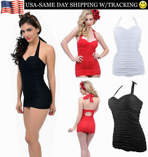 Retro Vintage Ruched One Piece Women's Padded Swimsuit Bikini Sexy w/ Plus Sizes