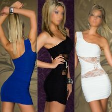 2015 Women Sexy One Shoulder Lace Bodycon Night Club Package Hip Bandage Dress