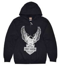Harley-Davidson Men's Eagle Hoodie, Hooded Sweatshirt Zippered, Black 30296661