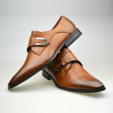 Mens New Brown Leather Smart Formal Velcro Buckle Shoes UK SIZE 6 7 8 9 10 11
