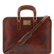TUSCANY LEATHER briefcase Ladies long handles detachable strap made in Italy