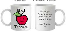 Personalised Best Teacher apple Mug/Coaster,Thankyou End Of Term Present/Gift