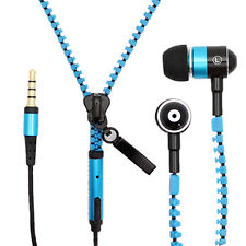 New Microphone Mic Earbuds Premium 3.5mm Tangle-Free Zipper Earphones Headset US