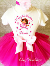 Dora Ballerina Ballet Pink 2nd Second Birthday Shirt Tutu Outfit Set Party