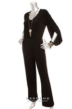 NEW CALVIN KLEIN Women Slit Sleeve Pocket Jump Suit Black Size 6 8 10 12 14 16