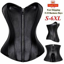 Sexy Boned Zip Faux Leather Lace Up Black Overbust Corset Waist Cincher Bustier
