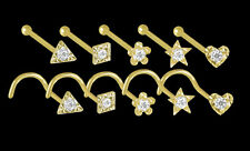 750 ECHT GOLD ☺ DIAMANT Brillant Nasenpiercing Nasenstecker Stern Herz 3eck 4eck