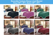 LUXURIOUS REVERSIBLE OVERSIZED SOFT FANTASIA SHERPA LINED BLANKET, FLEECE THROW