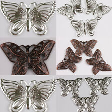 Fashion 50Pcs Two-sided Filigree Hollow Out Butterfly Alloy Charms Pendants