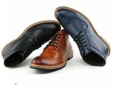 Mens Oxfords Brogue real Leather wingtip Casual formal Dress Shoes ankle boots