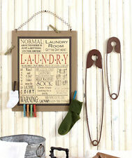 Laundry Room Decor Metal Sign Wall Board Phrases Set of Large Small Safety Pins