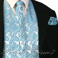 Turquoise Blue Paisley Tuxedo Suit Dress Vest Waistcoat & Necktie And Hankie Set