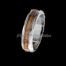 Koa Wood Hawaiian Jewelry Wedding Band Ring Engraving Titanium Scroll Design 6mm