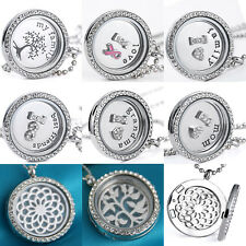 30mm living Memory Round Crystal Silver Floating With Love Charm Locket Necklace