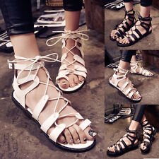 Fashion Ring Toe Thong Strappy Cut Out Gladiators Sandals Buckle Lace Up Shoes