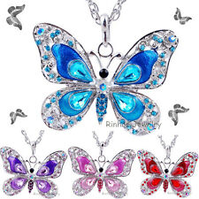 Fashion Jewelry Butterfly Crystal Pendant Choker Sweater Necklace Chain Women's