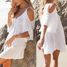 Ladies Bohemian Casual Batwing Sleeve Strapless off shoulder Cover Up Mini Dress