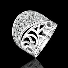 New Women 925 Sterling Silver Plated Stylish Wide Modern Band Solid Ring Jewelry