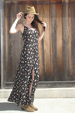 Black Floral Maxi Dress with Tie back and Center Slit Reformation Stone Cold Fox
