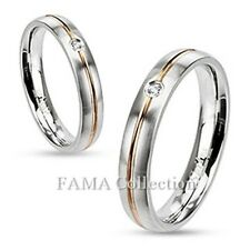FAMA Stainless Steel Rose Gold IP Striped w/ Clear CZ Wedding Band Ring Size 5-9