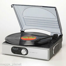 Steepletone ST938 3 Speed Retro Turntable Record Player inc 2w Speakers SILVER
