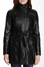 REDUCED Kenneth Cole Reaction Black Faux-Leather Motorcycle Trench Coat - $180