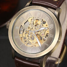 Retro Bronze Steampunk Skeleton Automatic Mechanical Leather Men's Wrist Watch