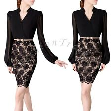 Elegant Women's Long Sleeve Lace Evening Sexy Bodycon Party Cocktail Mini Dress
