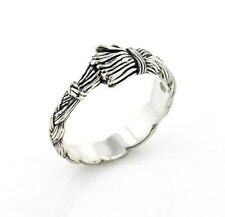 Native American Wolfwalker Braided Sweetgrass Sterling Silver Band Ring