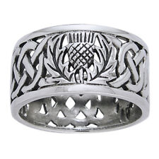 Scottish Thistle Celtic Knot Wedding Band 11mm Wide Sterling Silver Ring