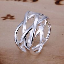 New Women 925 Sterling Silver Plated Stylish Glossy Net Band Solid Ring Jewelry