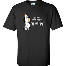 Happy T Shirt Droopy T-Shirt Im Happy Shirt 80's Retro Vintage Funny Humor Tee