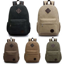 Men Women Vintage Canvas Backpack Rucksack School Satchel Hiking Bag Bookbag New