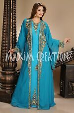 NEW MODERN JILBAB JALABIYA FANCY WEDDING GOWN THOBE ARABIAN ISLAMIC DRESS  4433