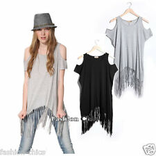 CelebStyle Fringe T-shirt Top with cut out shoulder detail