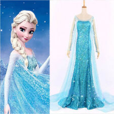 USA SELLER Frozen Elsa Adult Cosplay Costume Dress Ladies Princess Blue Party