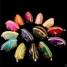 A lot of Wholesale Mix color silk pouch jewelry Zipper Bags Coin change purse