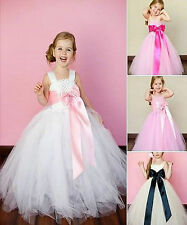 Girls-bridesmaid princess-pageant-prom-flower Girl Dress 1-12 ANNI VESTITO BIANCO