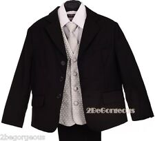 5pcs Formal Suit Silver Checks Waistcoat Wedding Dinner Party Outfit 2y-6y #033A