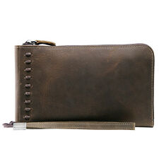 Men Real Leather Business Wrist Wallet Clutch Handbag Briefcase Checkbook Purse