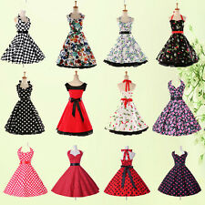 Vintage Style 50s 60s Swing  Floral/Polka Dot Rockabilly Housewife Evening Dress