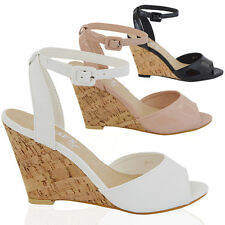 WOMENS WEDGE HEEL ANKLE STRAP LADIES PEEPTOE CASUAL BUCKLE SANDALS SHOES SIZE