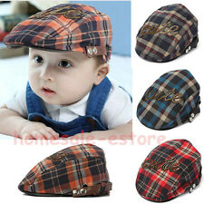 Kid Baby Boy Girl Plaids Beret Cotton Cap Check Newsboy Casquette Peaked Sun Hat