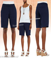 $198 Eileen Fisher Linen Viscose Stretch Midnight Navy Walking Bermuda Shorts