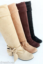 Women's Wedge Heel Flat Shoes Stretchy Suede Fabric Knee High Boots Size AU O026