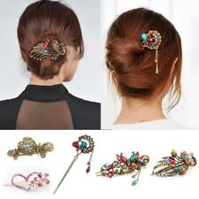 Colorful Women Retro Crystal Butterfly Flower Hairpins Hair Stick Hair Clip