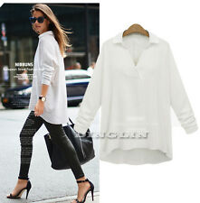 New Women 3/4 Sleeve Casual Loose Oversize Collared Summer Blouse Tops Tee Shirt